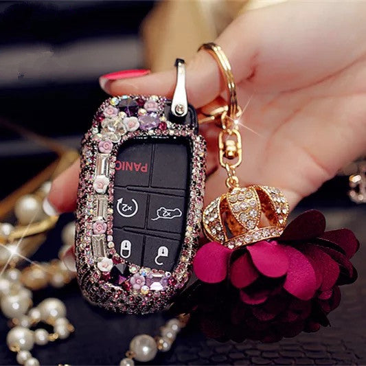 Bling Bedazzled JEEP Dodge Key FOB Cover with Rhinestones- Purple for Cherokee Wrangler