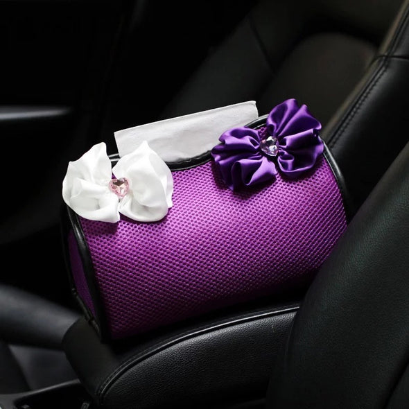 Purple Car Tissue Holder with Chiffon Flower
