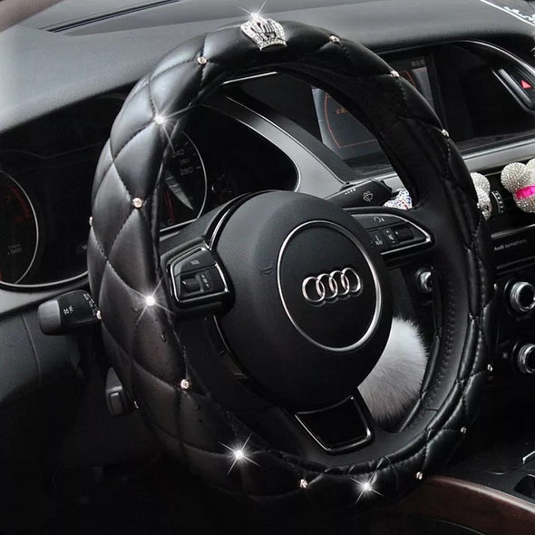 Black Leather Steering wheel cover with Bling Crown