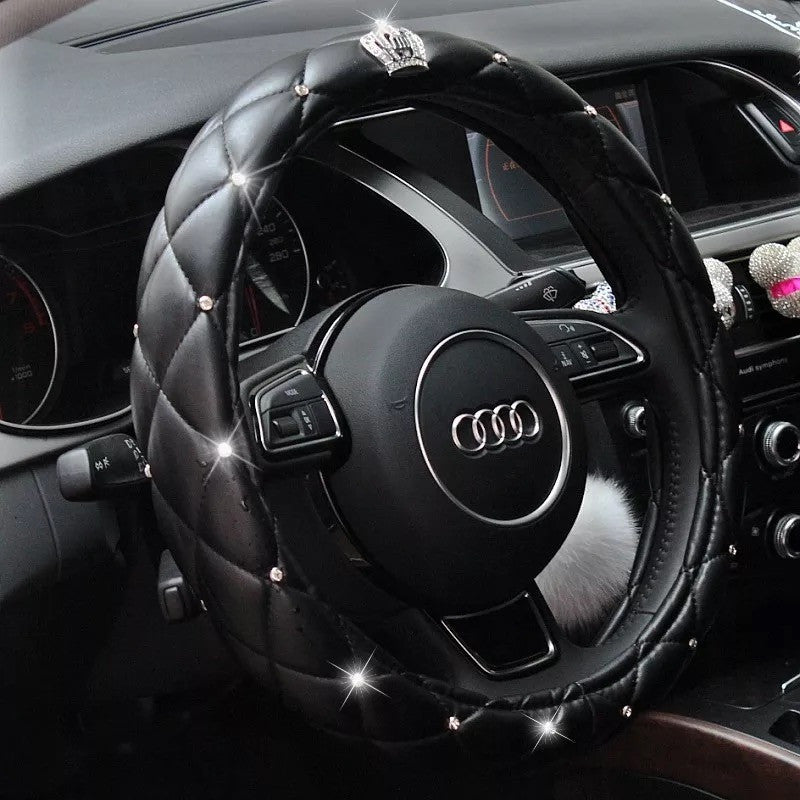 Black Leather Steering Wheel Cover With Bling Crown Carsoda