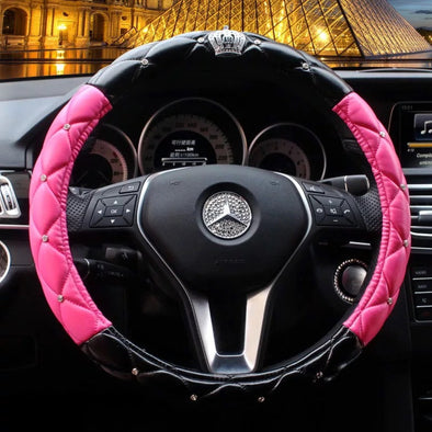 Black and Pink Leather Steering wheel cover with Bling Crown