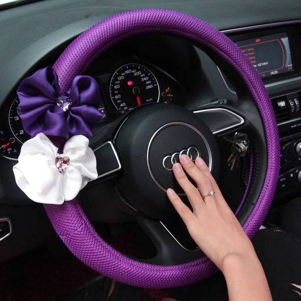 Purple Steering wheel cover with Chiffon Flowers