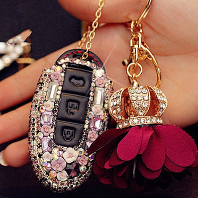 Nissan Bling Car Key Holder with Rhinestones and flowers