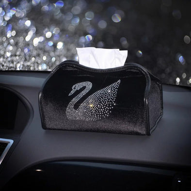 Car Tissue Holder with Bling Swan