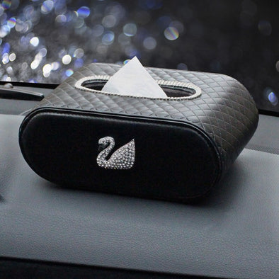 Quilted Leather Car Tissue Box with Bling Swan