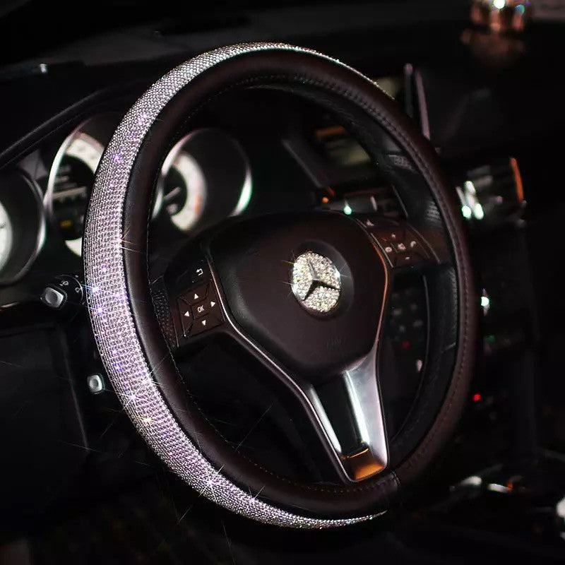 Bedazzled Steering Wheel Cover With Rhinestones Carsoda