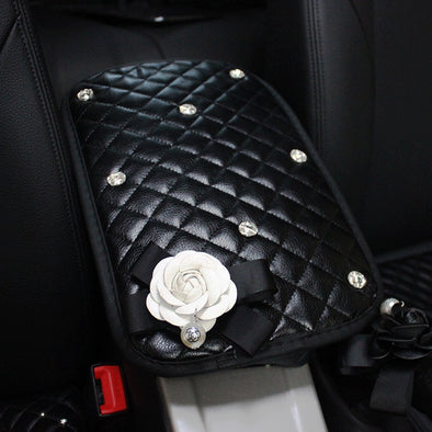 Custom Black PU Center Console Cover With Rhinestones and Camellia.