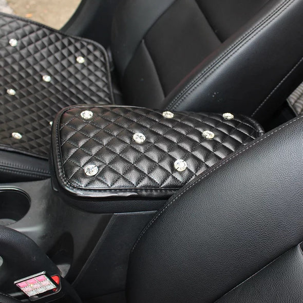Black PU leather Bling Car Center Console Cover -Customize Size