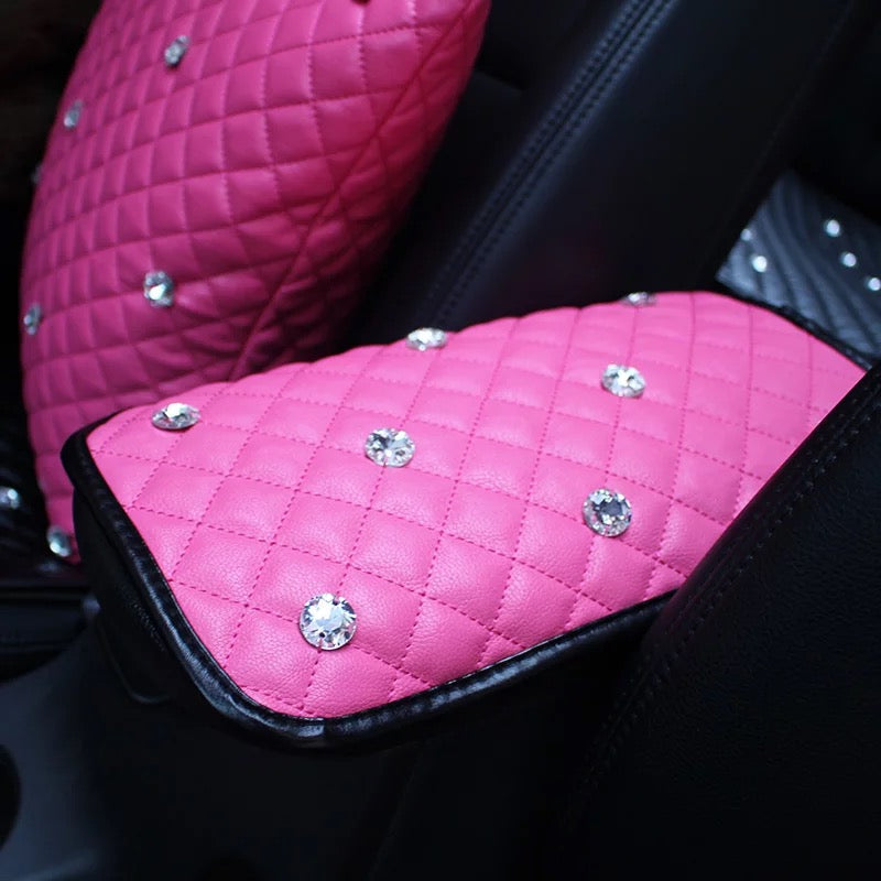 Customize Pink Red Car Center Console Cover With