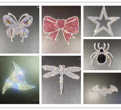 Bling Sticker Decal Butterfly, Star, Bow, Spider, Dragonfly and bat for DIY decals