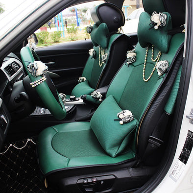 Emerald Car seat covers with Bling Pearl Chain and Flowers