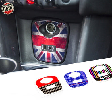 MINI cooper Interior Center USB Control Panel 3D PU Decal sticker Union Jack Checker F55 F56 F54