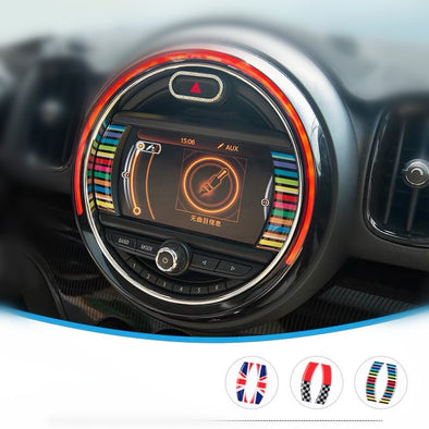 Mini Cooper Dashboard Monitor Screen 3D Decal - Jack Union, Rainbow, Racing Check (2x)