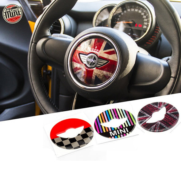 MINI cooper  Steering Wheel Panel 3D PU Decal sticker Union Jack Checker F55 F56 F54 R50 R55-R61
