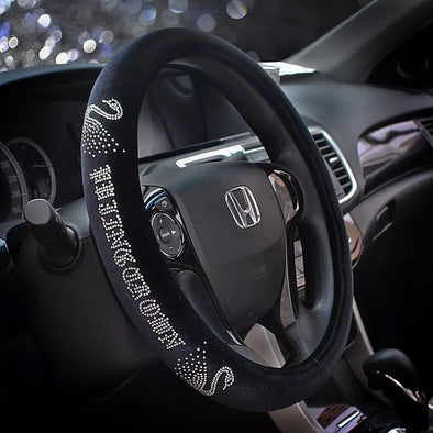Black Velvet Steering wheel cover with Bling Swan