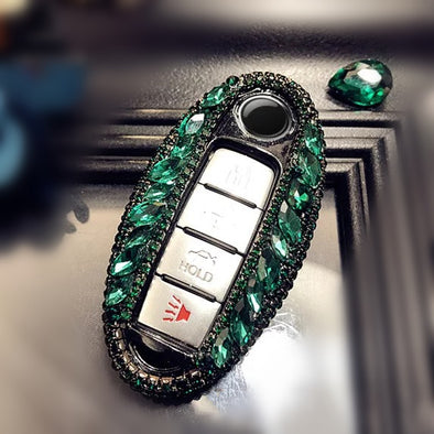 Infiniti/Nissan Emerald Bling Four/Five keys Car Key Holder with Rhinestones Crystals
