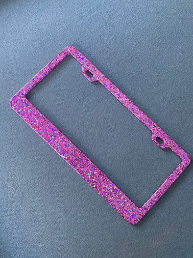 Party Pink Glitter Bling Sparkle License Plate Frame Designed by Virginia Thomas
