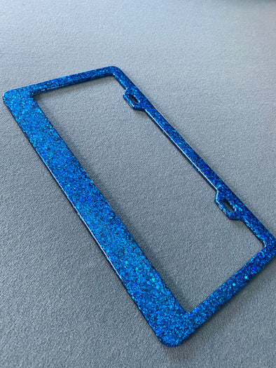 Blue Sparkle Holographic Glitter Blue License Plate Frame Designed by Virginia Thomas