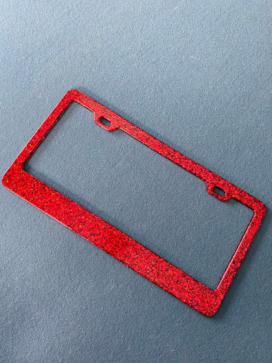 Red Holographic, Sparkle Glitter License Plate Frame Designed by Virginia Thomas