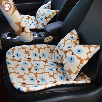 Scandinavian design Floral Car Seat Cover Cushion Pad, Matching Seat belt cover, Headrest Pillow and Steering wheel cover