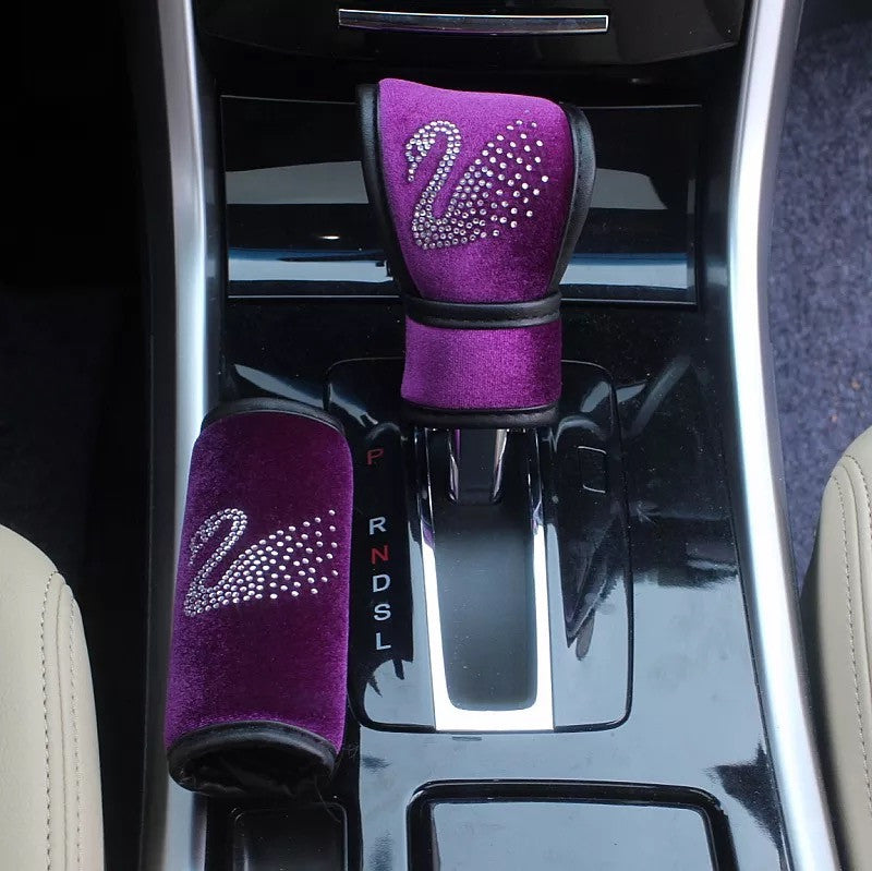 Purple Velvet Bling Swavroski Swan Rhinestones Hand Brake & Gear Shift Cover 2-pieces-Set - Carsoda