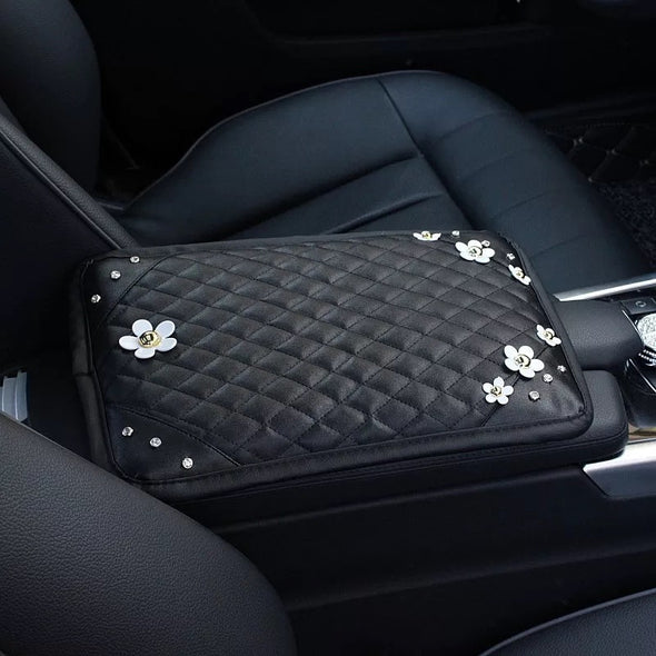 Black Leather Bling Car Center Console Cover with Small Daisy - Carsoda - 1