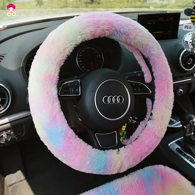 Fluffy Car Accessories- Steering wheel cover, seat cover, headrest pillow, seat belt cover - Warming and cozy for Winter