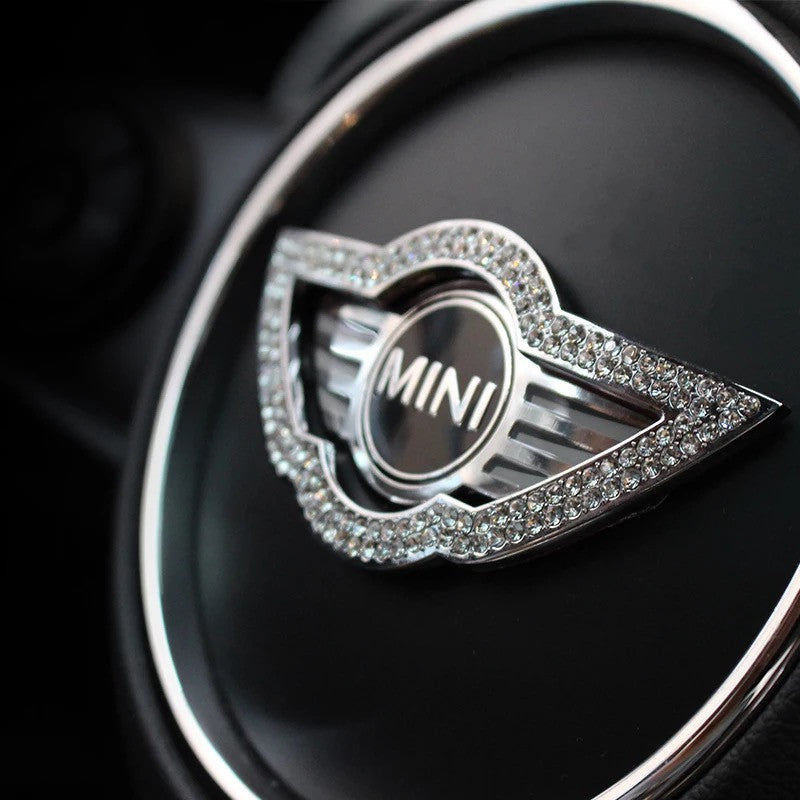 Bling MINI Wing Steering Wheel LOGO Sticker for Mini Cooper Countryman Clubman F55 F56 F54 - Carsoda