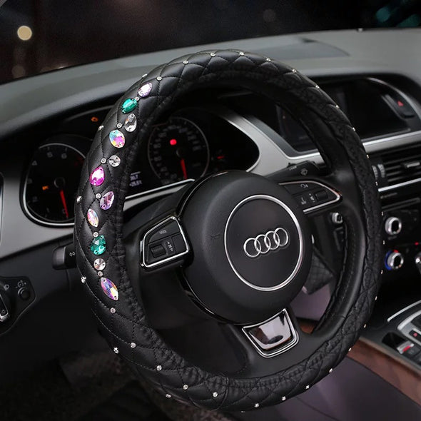 Cute Steering wheel cover with Rhinestones