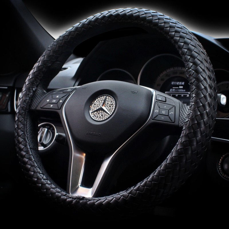 Braided Leather Steering Wheel Cover Black Carsoda
