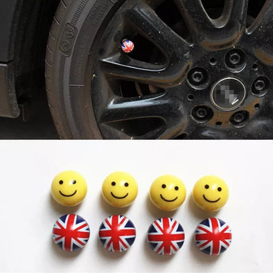 Smiley UK Jack Union Car Wheel Air Tyre Valve Dust Caps Covers Set of 4 For Mini Coopers