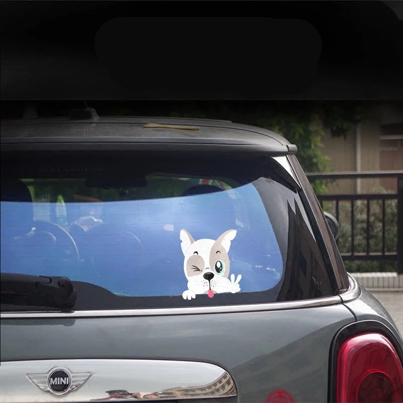 Mini Cooper Countryman Decal French Bulldog Boston Terrier Peeking Sticker Beetles - Carsoda