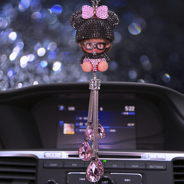 Bling Car Charm Ornaments- Monchichi Rear View Mirror Charm -Purple