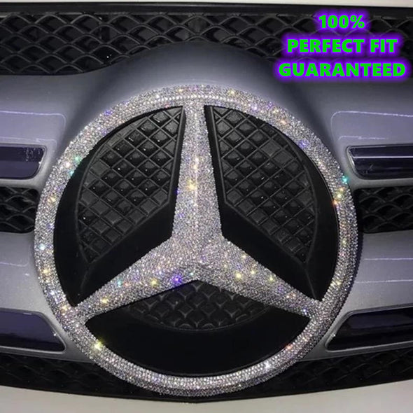 Bling Mercedes Benz LOGO Front Grille Rear Trunk Emblem Decals Made w/ Rhinestone Crystals