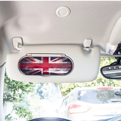 MINI Cooper Mirror Sun Visor 3D PU sticker Union Jack Checker F55 F56 F54 (1pc)