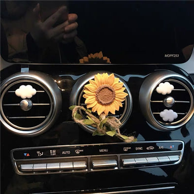 Sunflower Car Decoration -Air Vent Decoration with Freshener DIY clip or Mirror Pendant Charm