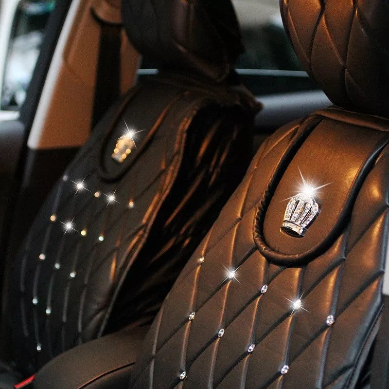 Black Leather Car Seat cover with Rhinestone bling Crown Five-pieces-set