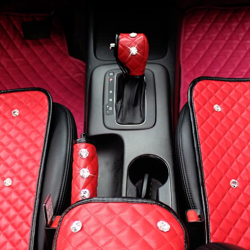 Car Red Bling Crown Rhinestones Hand Brake & Gear Shift Cover 2-pieces-Set - Carsoda