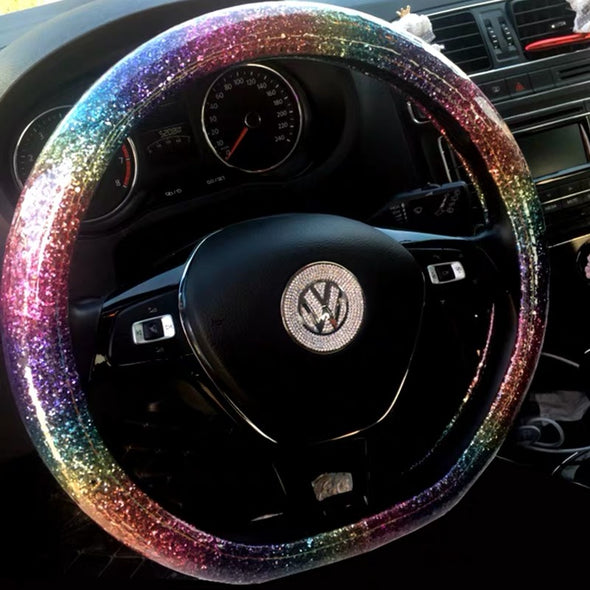 Multicolor Rainbow Color Bling Steering wheel cover (For both Round and D shaped)