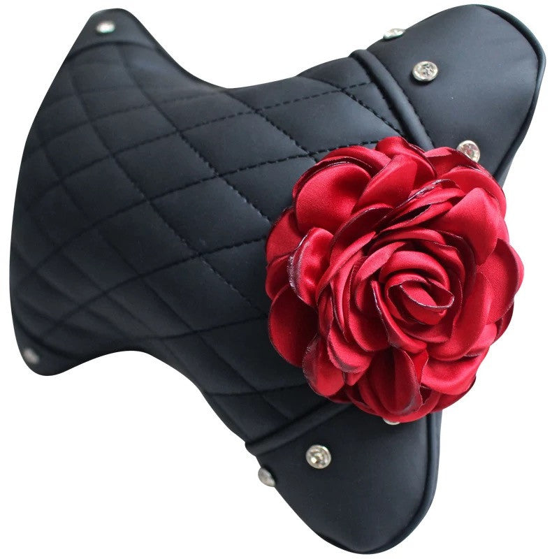 Black Leather Bone Shaped Car Headrest Pillow with Red Rose - Carsoda