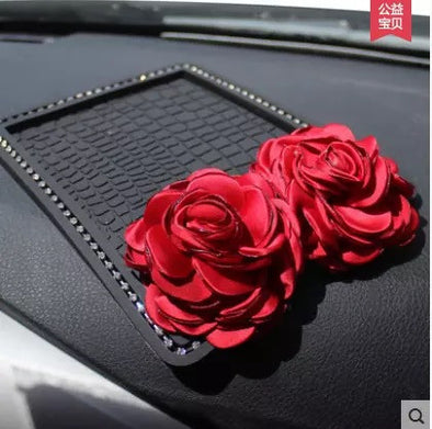 Car Dashboard Bling bling Anti-slip Mat Mobile Phone Holder for Mini Cooper with Red Rose - Carsoda