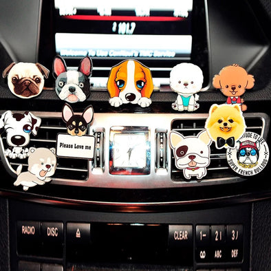 Dog Puppy Cute Pets Car Air Vent Bling Decoration with Air Freshener DIY clip - Carsoda - 1