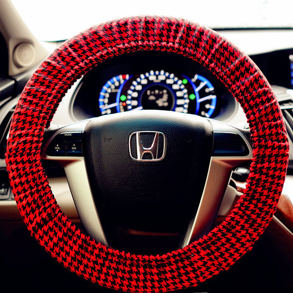Red Houndstooth Steering Wheel Cover - Carsoda