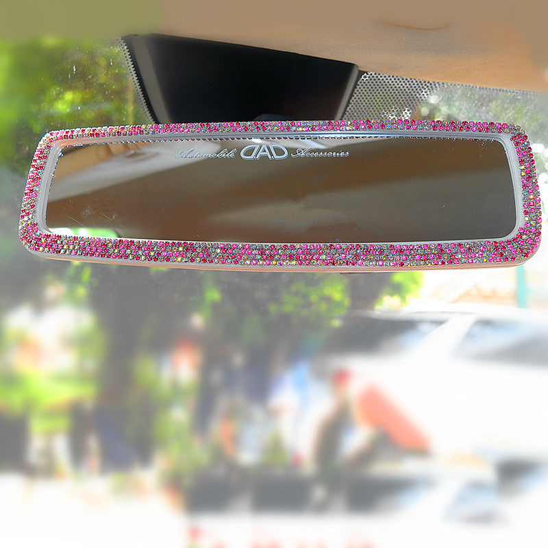 Bling Car Rear View Anti Dazzle Mirror with Multicolor Rhinestones Crystal Cover - Carsoda - 1