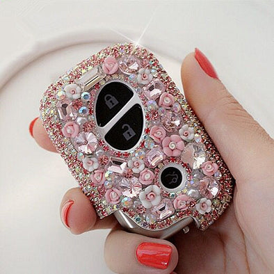 Pink Bling Car Key Holder with Rhinestones and flowers for Lexus ES240 RX350 270 IS250 GS300