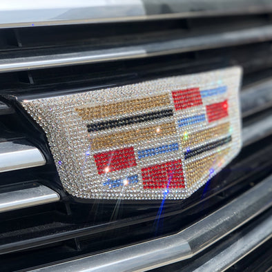 Bling Cadillac LOGO Decal Rhinestone Bedazzled for Front or Rear or Sides Grille Emblem