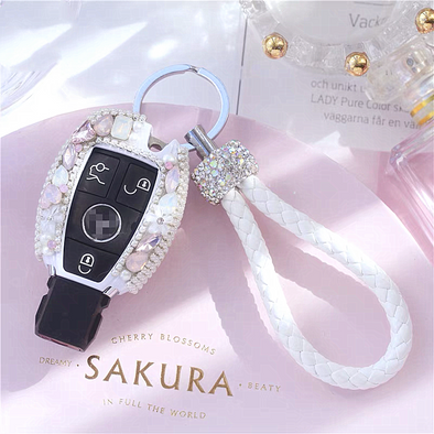 Pink and White Bling E Class C Class Mercedes Benz Crystal Car Key Holder with Large Rhinestones