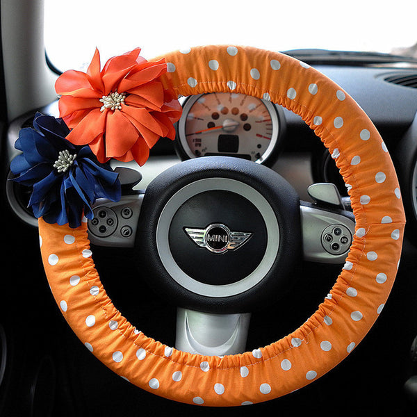 Orange Polka Dots Car Steering wheel cover with Chiffon Flowers - Carsoda - 1
