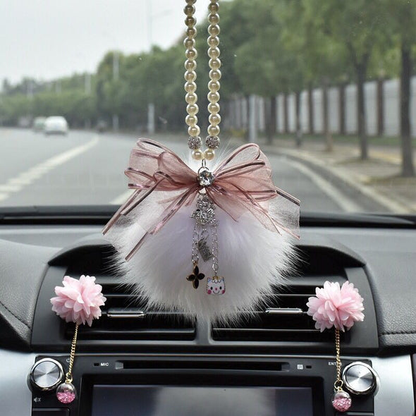 Car Mirror Charm- Bling crystal pendant and Fur Ball Rear View Ornament