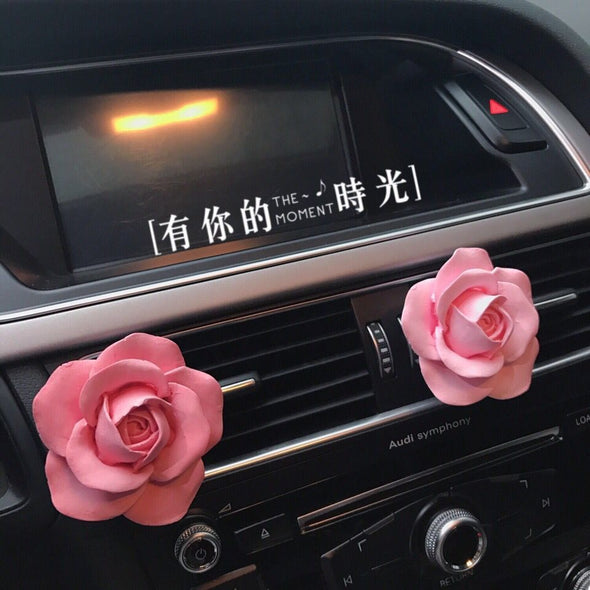 Pink Rose Floral Car Air Vent Decoration with Freshener DIY clip